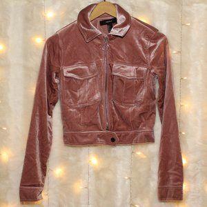 F21 Pink Crushed Velvet Cropped Bomber Jacket